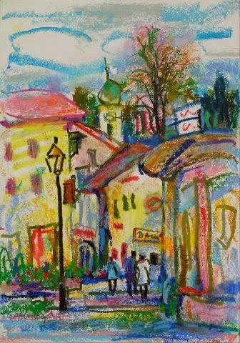 Village by the Rhine River Germany 42cm x 29.5cm