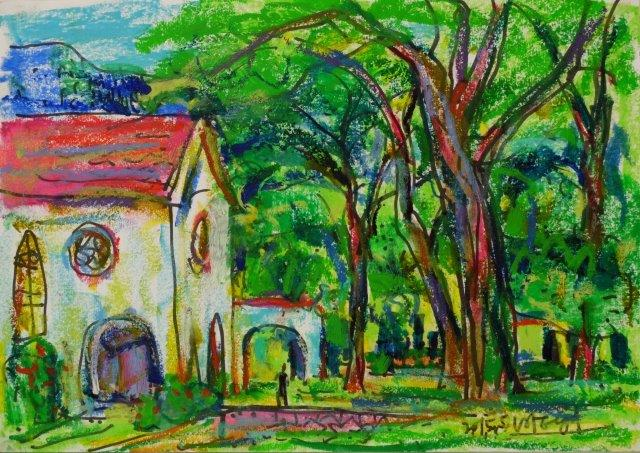 Garden in a Church Switzerland 21cm x 29.5cm