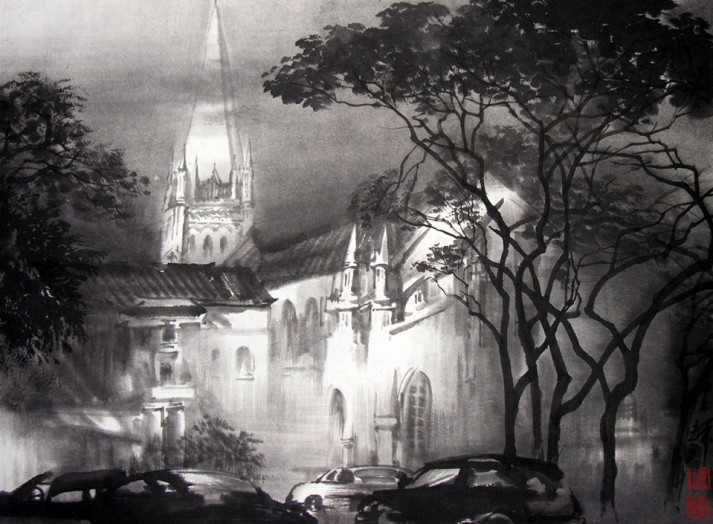 St Andrew's Cathedral, Singapore 35cm x 47cm