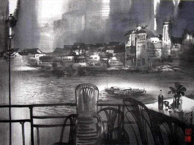 Riverside Scene, Singapore 35cm x 47cm